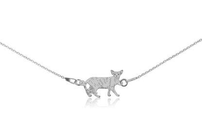 Naszyjnik z kotem orientalnym srebrnym na łańcuszku