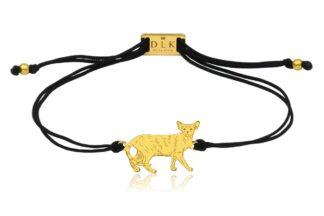 Bransoletka z kotem orientalnym złotym na sznurku