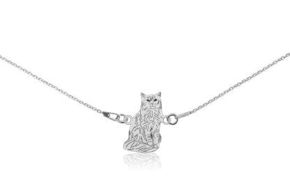 Naszyjnik z kotem somalijskim srebrnym na łańcuszku