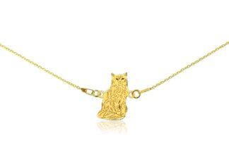 Naszyjnik z kotem somalijskim złotym na łańcuszku