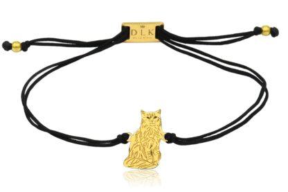 Bransoletka z kotem somalijskim złotym na sznurku