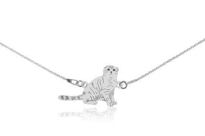 Naszyjnik z kotem szkockim srebrnym na łańcuszku