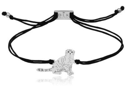 Bransoletka z kotem szkockim srebrnym na sznurku