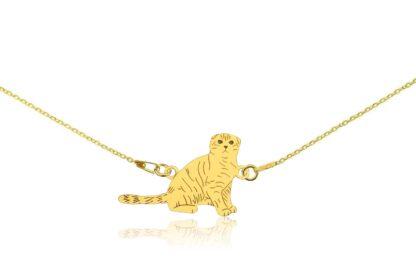 Naszyjnik z kotem szkockim złotym na łańcuszku