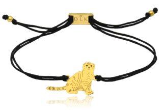 Bransoletka z kotem szkockim złotym na sznurku